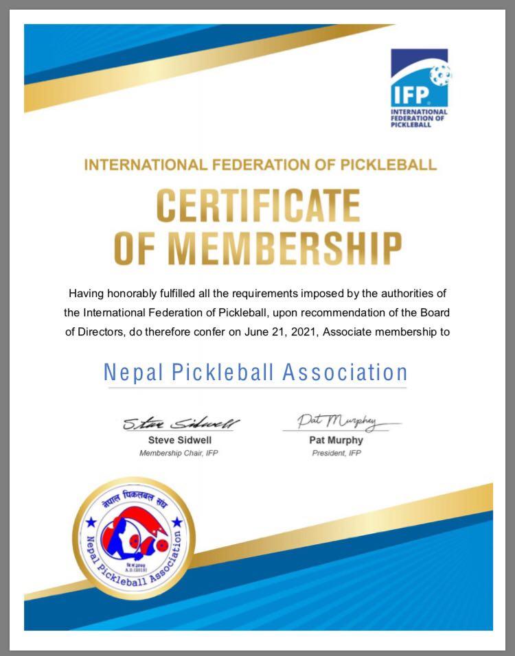 नेपाल पिकलबल महासंघको ५० औं सदस्यमा चयन