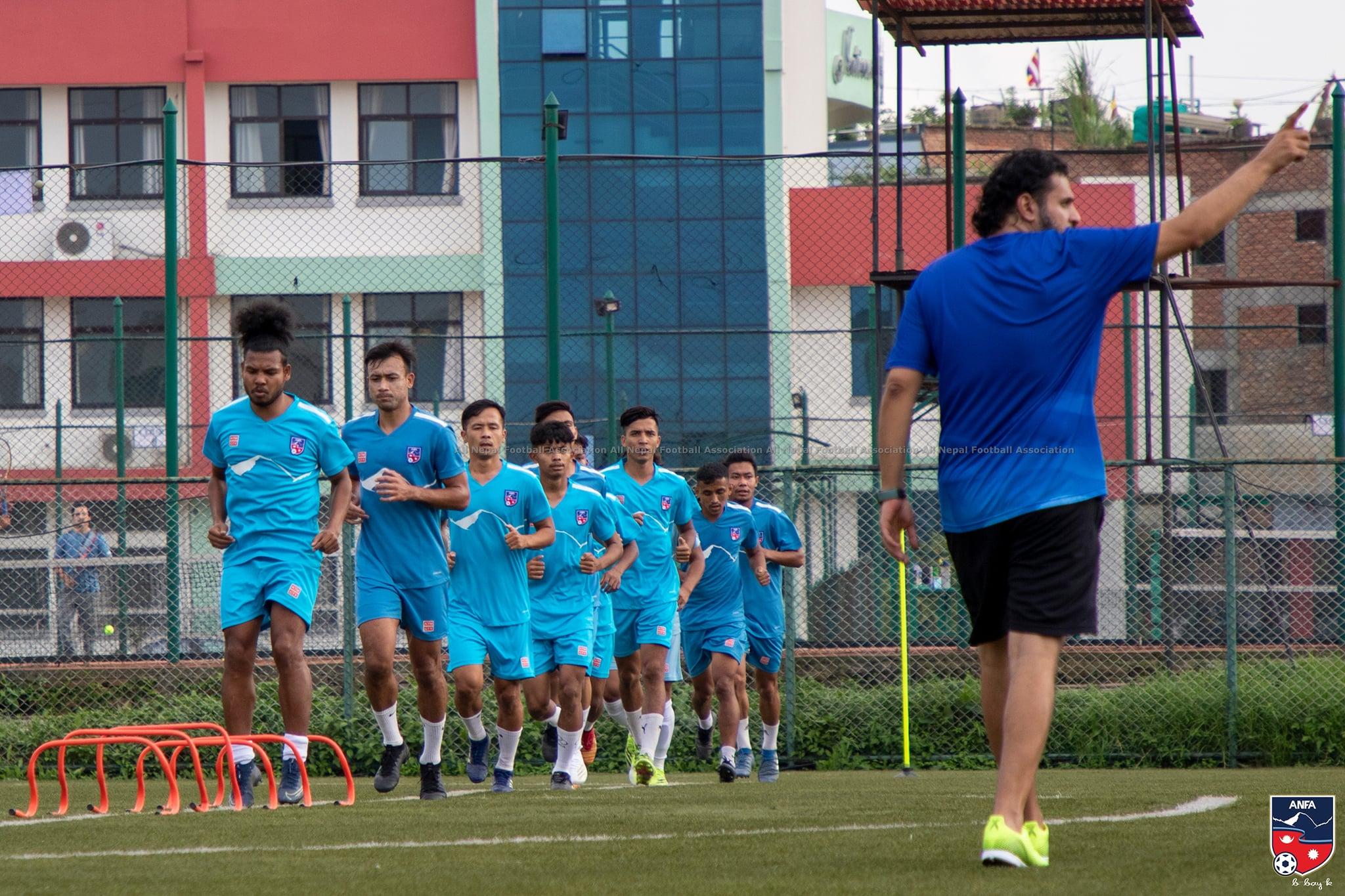 नेपाली फुटबल टिमकाे प्रशिक्षण सुरू