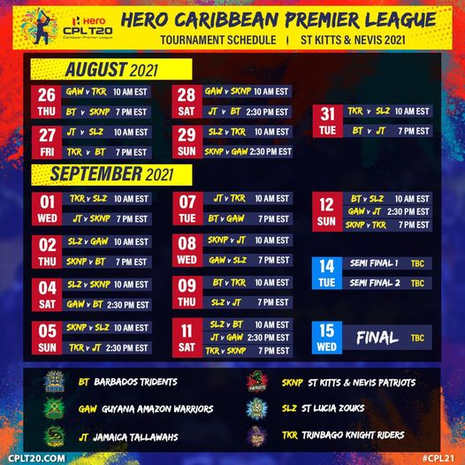 CPL 2021 season schedules to be played by Sandeep Lamichhane announced, tournament will kick off on August 26