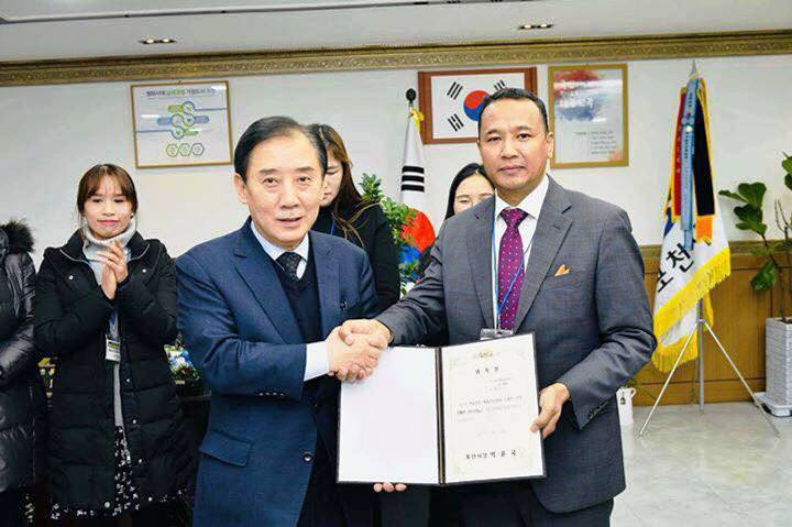 तेक्वान्दोका खेलाडी तथा प्रशिक्षक क्षेत्रीले दक्षिण कोरियामा पाए ठूलाे सम्मान