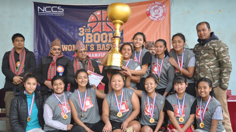 तेश्रो बुम महिला बास्केटबल प्रतियोगिताको उपाधि समृद्धिलाई