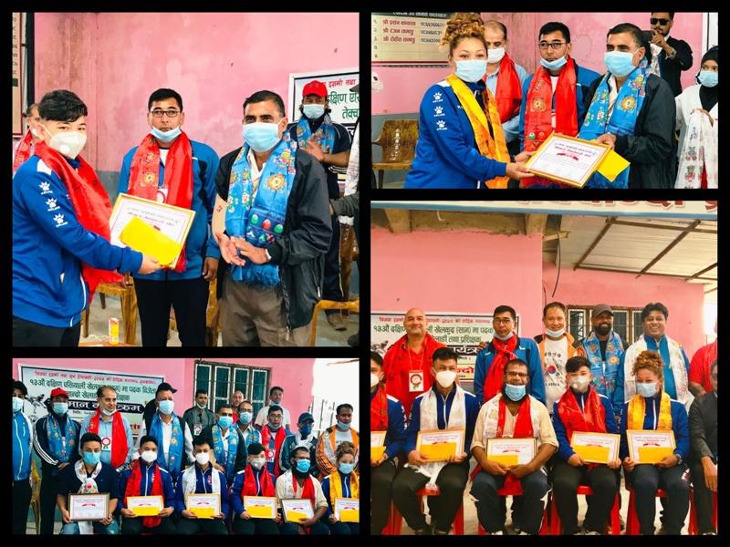 सागका पदकविजेता तेक्वान्दो खेलाडी चितवनमा सम्मानित