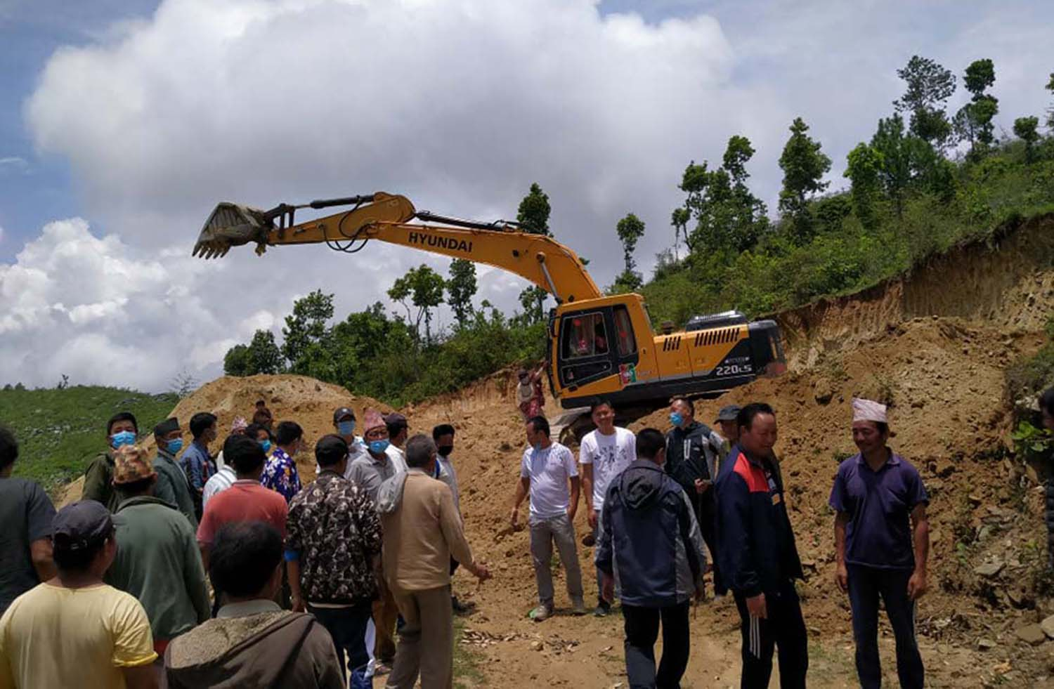 The construction work of the ground started by demolishing Halesigadhi despite all-round protests!!!