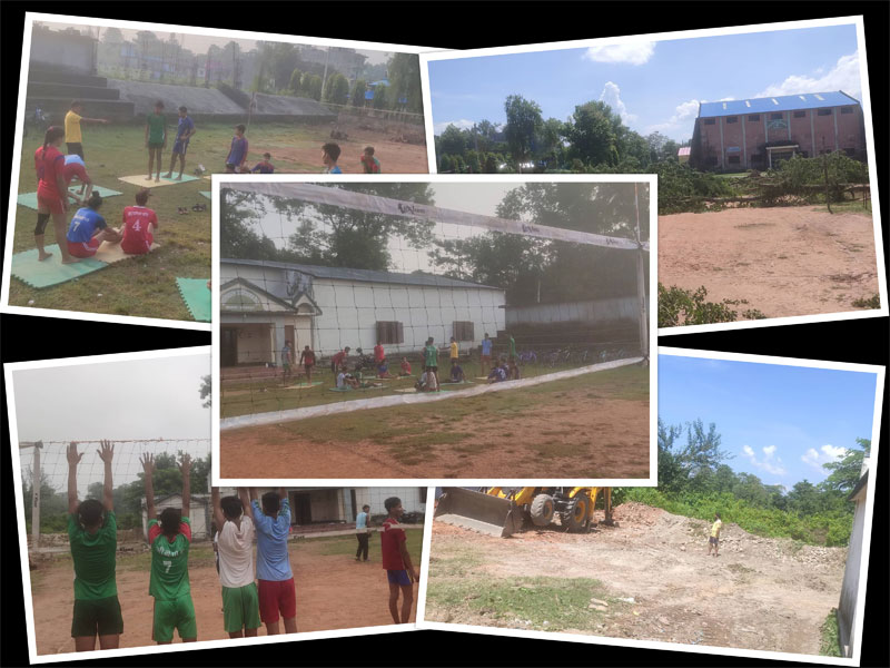 कञ्चनपुरको भलिबल प्रशिक्षण केन्द्र मर्मत हुँदै