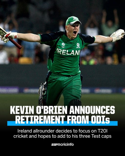 आयरल्याण्ड्सका केभिन ओब्राइनले एकदिवसिय क्रिकेटबाट सन्यासकाे घाेषणा