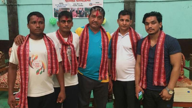 एशियाडमा सहभागी हुने कुस्ती टोली बैदेशिक प्रशिक्षणका लागि भारत प्रस्थान