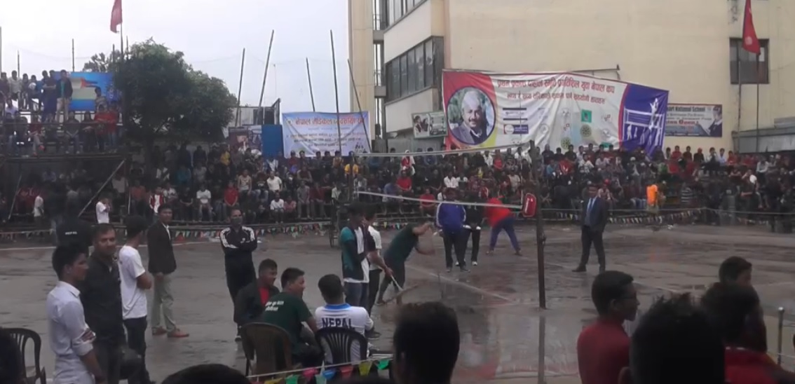 राष्ट्रिय पुरूष भलिबलकाे फाइनल खेल बर्षाले प्रभावित, भाेली फेरी हुने