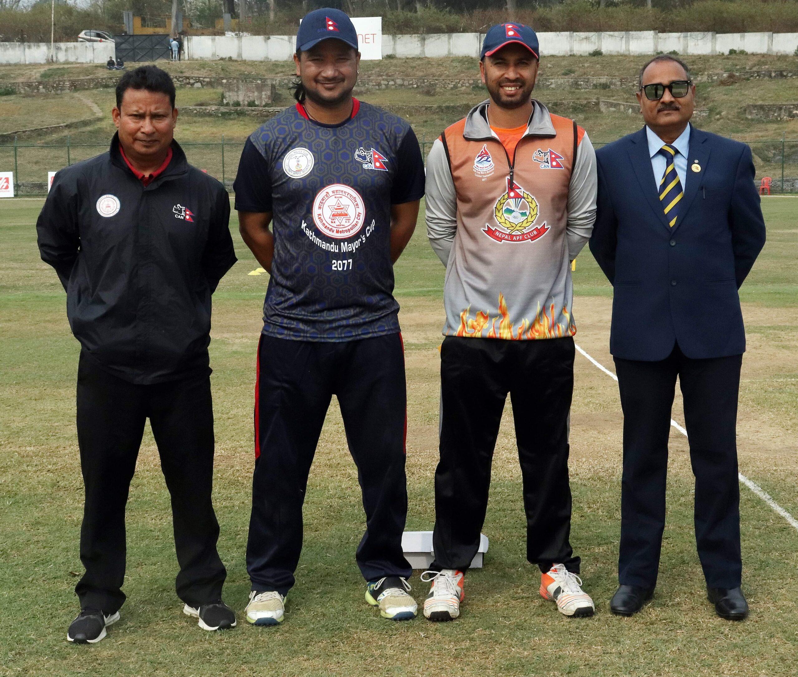 मेयर कप क्रिकेट फाइनल : एपीएफ ब्याटिङमा